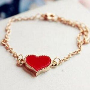 Retro Red Heart Charm Bangle Cuff Bracelet